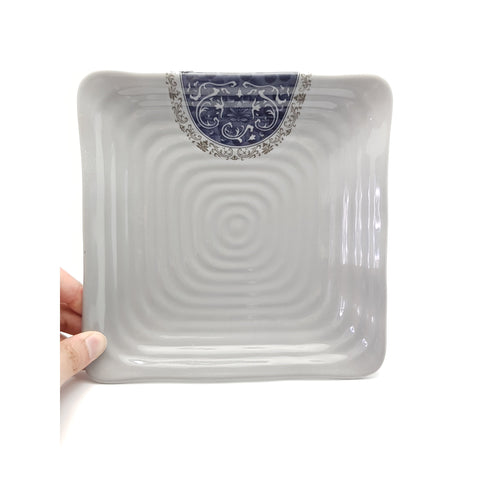 TP4985 - Grey & Blue Plastic Textured Square ~ 8.5 Inches - 6 Pieces  / 1 Box - New Eastland Pty Ltd - Asian food wholesalers