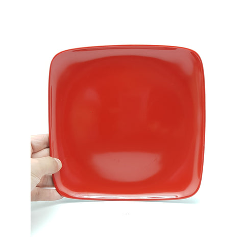 TP8839/40 - Japanese Red and Black Plastic Square Plate ~8.5 - 9.5 Inches - New Eastland Pty Ltd - Asian food wholesalers