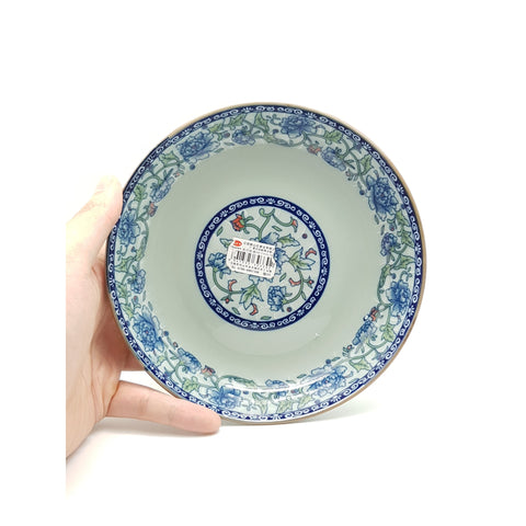 TPF07F/08F/09F- Dark Cyan/Blue Rose Ceramic Round Dish Plate ~7 - 9 inches - New Eastland Pty Ltd - Asian food wholesalers