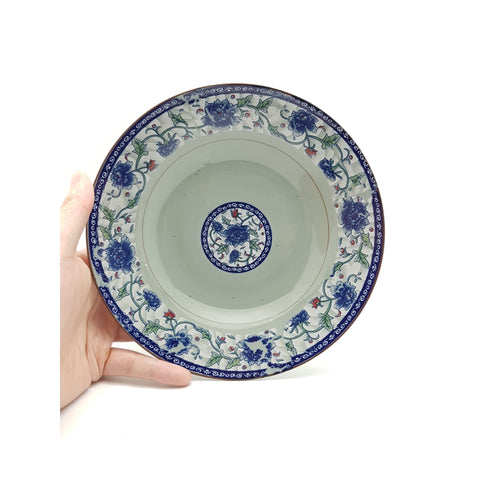 TPF08S - Dark Cyan/Blue Rose Ceramic Round Tall Dish Plate ~8 inches - 6 Pieces  / 1 Box - New Eastland Pty Ltd - Asian food wholesalers