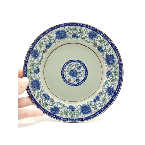 TPF08/09 - Dark Cyan/Blue Rose Ceramic Round Flat Dish Plate 8 - 9 inches - New Eastland Pty Ltd - Asian food wholesalers