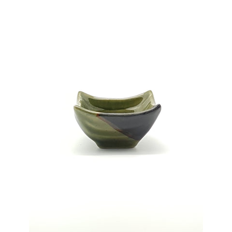 TPG06 - Green and Charcoal with Flower Square Sauce Bowl~3 Inches - 12 pcs  / 1 Box - New Eastland Pty Ltd - Asian food wholesalers