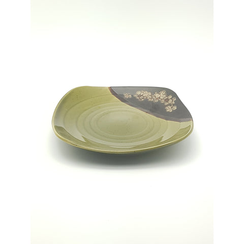 TPG08Q  - Green and Charcoal with Flower Square Plate ~8.5 Inches - 6 pcs  / 1 Box - New Eastland Pty Ltd - Asian food wholesalers
