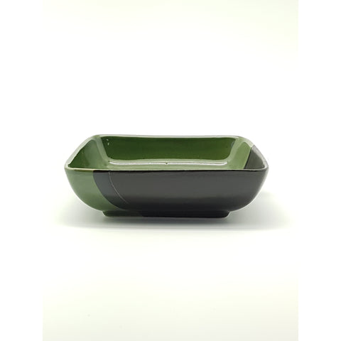 TPG08S  - Green and Charcoal with Flower  Sqaure plate ~6.5 Inches - 6 pcs  / 1 Box - New Eastland Pty Ltd - Asian food wholesalers