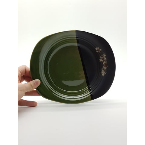 TPG09   - Green and Charcoal with Flower Rounded Sqaure plate ~9 Inches - 6 pcs  / 1 Box - New Eastland Pty Ltd - Asian food wholesalers