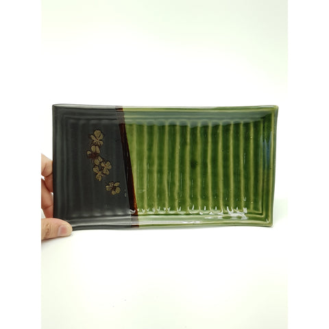 TPG10 - Green and Charcoal with flower Rectangle Plate ~10.5 Inches - 6 pcs  / 1 Box - New Eastland Pty Ltd - Asian food wholesalers
