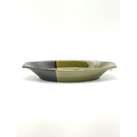 TPG10B - Green and Charcoal with flower Boat Plate ~10.5 Inches - 6 pcs  / 1 Box - New Eastland Pty Ltd - Asian food wholesalers