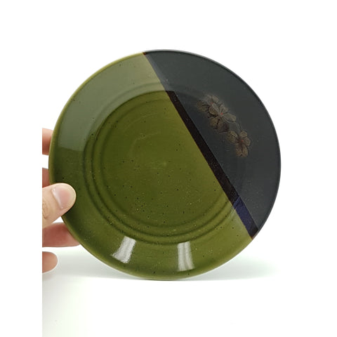 TPG16 - Green and Charcoal with flower Circular Plate ~6 Inches - 6 pcs  / 1 Box - New Eastland Pty Ltd - Asian food wholesalers