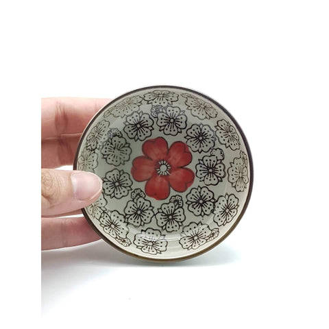 TPH03 - Green Ceramics with Red Flowers Sauce Plate - New Eastland Pty Ltd - Asian food wholesalers