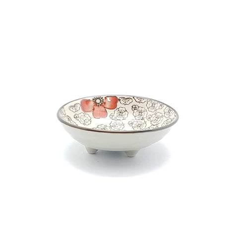 TPH04 - Green Ceramics with Red Flowers Sauce Plate - New Eastland Pty Ltd - Asian food wholesalers