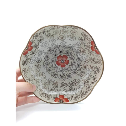 TPH07C/08C - Green Ceramics with Red Flower Plate 7 - 8 Inches - New Eastland Pty Ltd - Asian food wholesalers