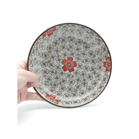 TPH07F/08F - Green Ceramics with Red Flower Plate 7 - 8 Inches - New Eastland Pty Ltd - Asian food wholesalers