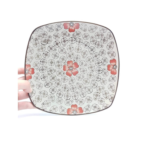 TPH09S - Green Ceramics with Red Flower Square Plate - New Eastland Pty Ltd - Asian food wholesalers