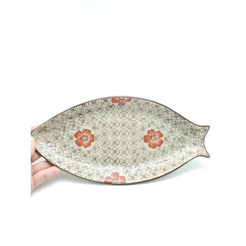 TPH13F - Green Ceramics with Red Flowers Fish Plate - New Eastland Pty Ltd - Asian food wholesalers