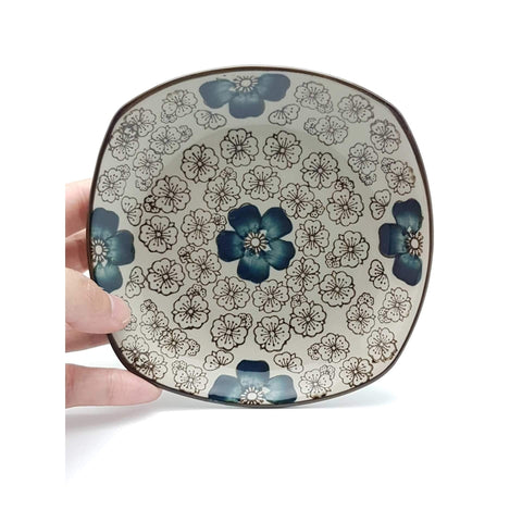 TPI05F - Green Ceramics with Blue Flowers Side Plate - New Eastland Pty Ltd - Asian food wholesalers