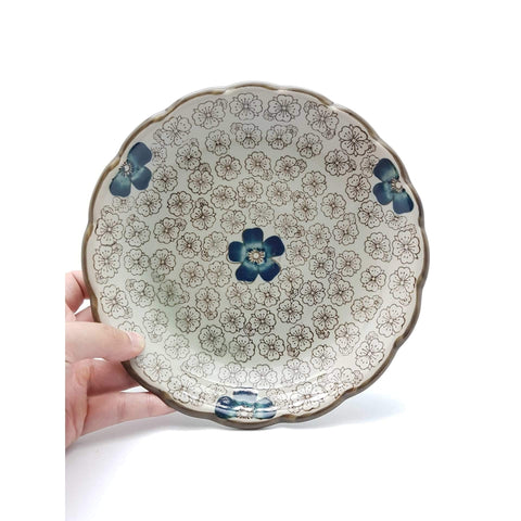 TPI09L - Green Ceramics with Blue Flower Plate - New Eastland Pty Ltd - Asian food wholesalers