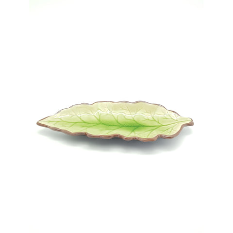 TPJL01 -  Ceramic Green Leaf Shaped Plate 12INCHES - 6 pcs  / 1 Box - New Eastland Pty Ltd - Asian food wholesalers
