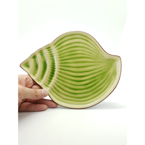 TPJS09 -  Ceramic Green Leaf Shell-Shaped Plate ~ 9.25 INCHES - 6 pcs  / 1 Box - New Eastland Pty Ltd - Asian food wholesalers