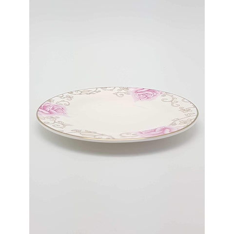 TPK08D -  Pink Rose Ceramic Plate 8 Inches - New Eastland Pty Ltd - Asian food wholesalers