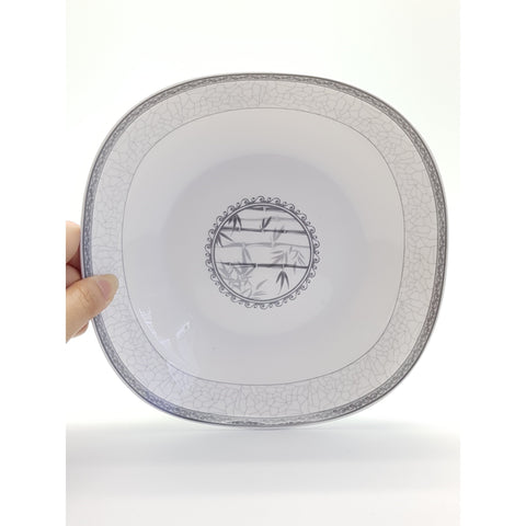 TPN07S - White Bamboo Ceramic Square Serving Plate ~7 inches- 6 Pieces / 1 Box - New Eastland Pty Ltd - Asian food wholesalers
