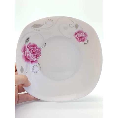 TPR07S/07W/08S -  Pink Rose Ceramic Square Plate 7 - 8 Inches - New Eastland Pty Ltd - Asian food wholesalers