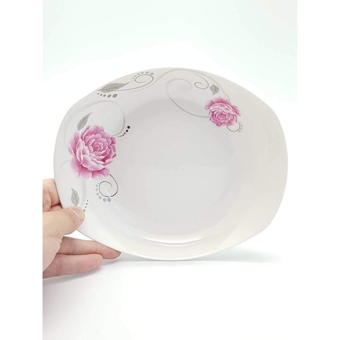 TPR08B/09B -  Pink Rose Ceramic Rounded Square Plate 8 -9 Inches - New Eastland Pty Ltd - Asian food wholesalers