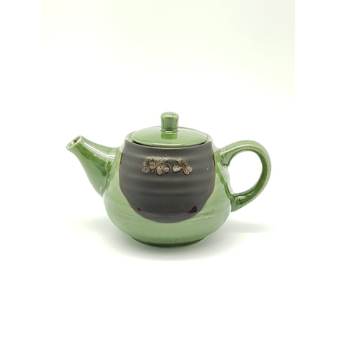 TT10T - Green and Charcoal with flower Tea Pot ~8.5 Inches - 2 pcs  / 1 Box - New Eastland Pty Ltd - Asian food wholesalers