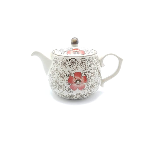 TT14T - Green Ceramics with Red Flower Tea Pot - New Eastland Pty Ltd - Asian food wholesalers