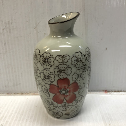 TT14WA - Green Ceramics with Red Flower Sake Bottle - New Eastland Pty Ltd - Asian food wholesalers