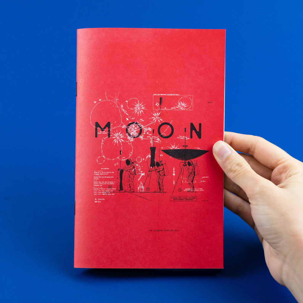 Risograph printed moon zine cover