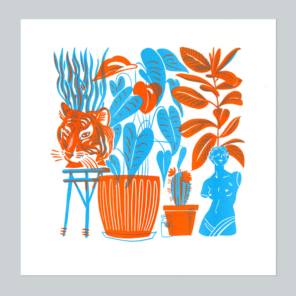 Houseplant Jungle riso print