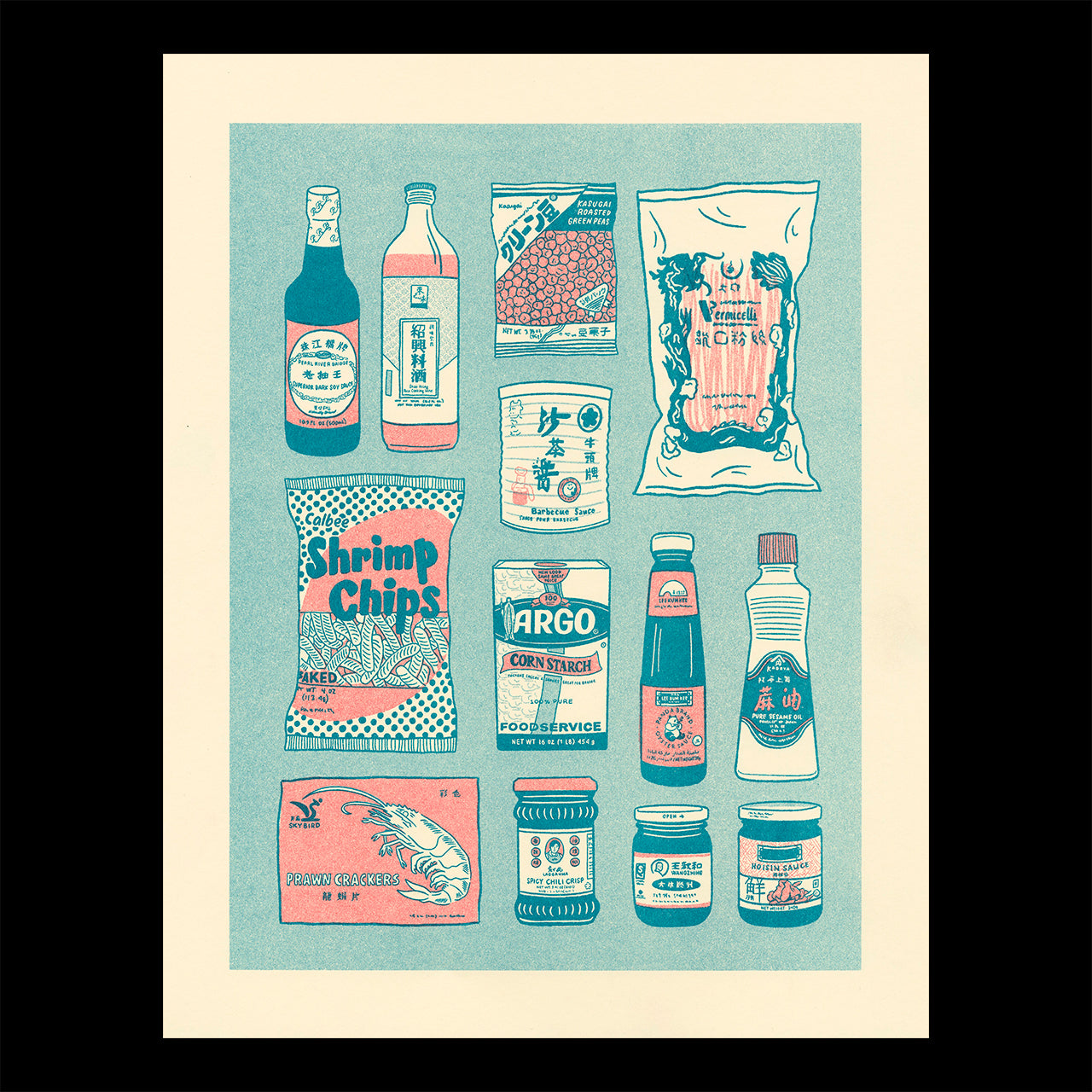 Risograph printed illustration showing common items found in the pantry of a Chinese home
