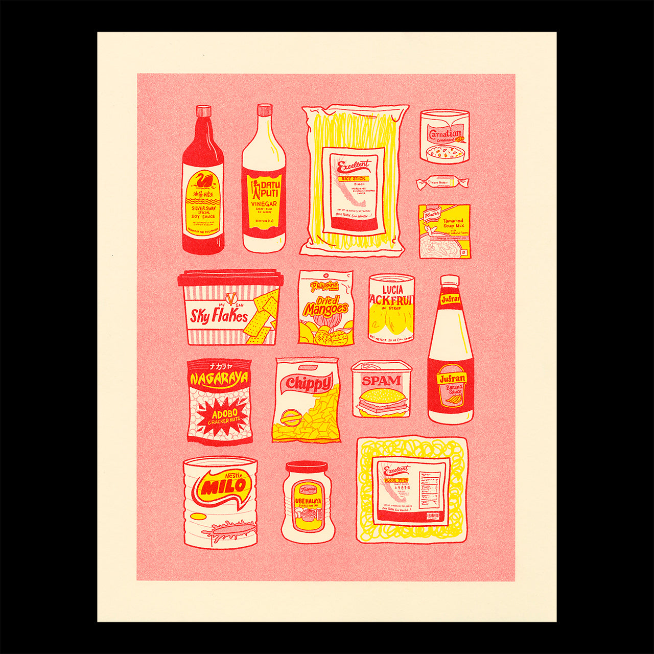 Risograph printed illustration showing common items found in the pantry of a Filipinx home