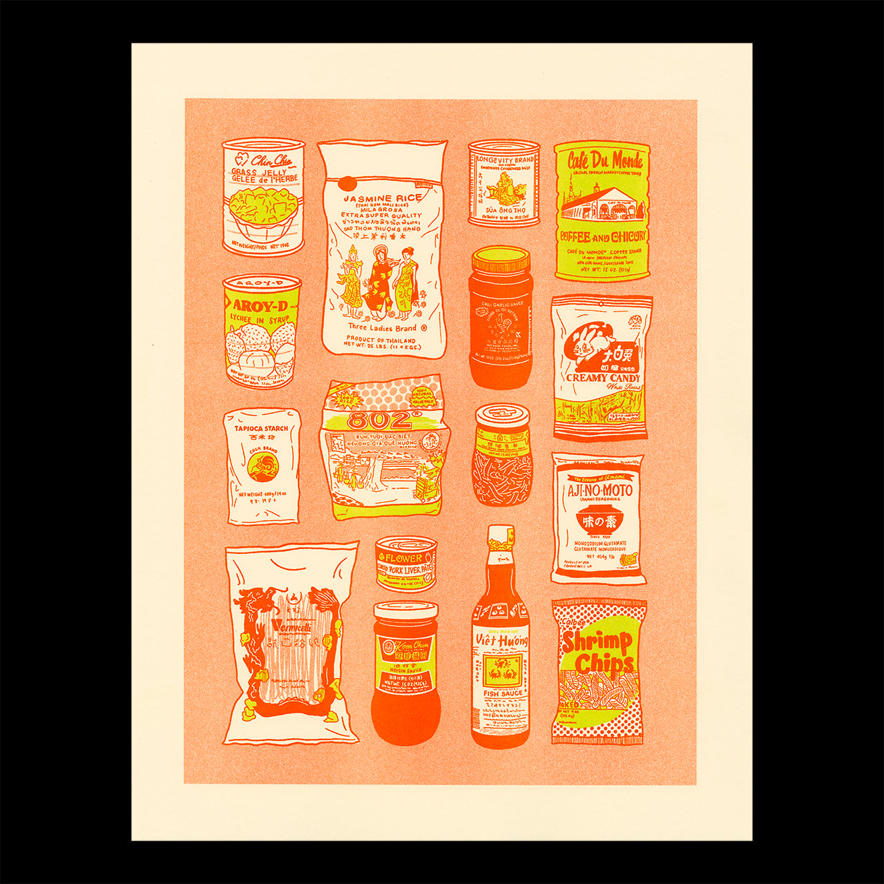 Risograph printed illustration showing common items found in the pantry of a Vietnamese home