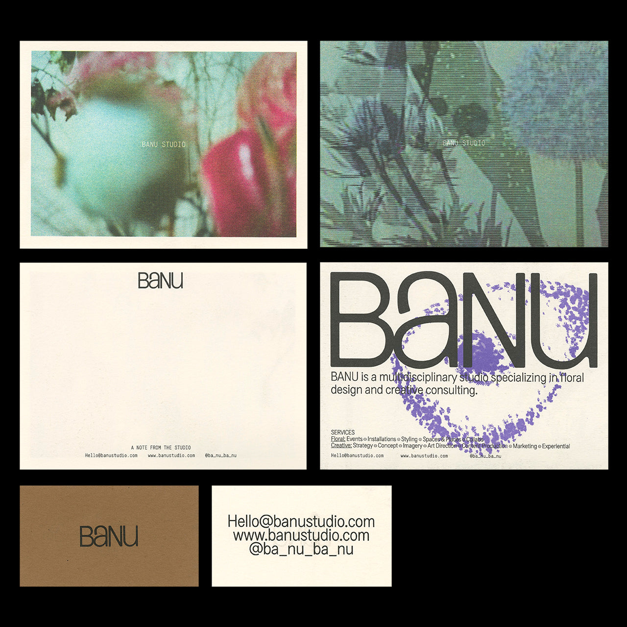 Promo cards, notecards, and business cards for Banu Studio featuring blurry artistic photography of flowers