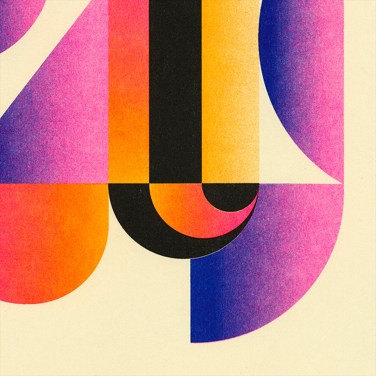 Upclose detail of a Riso print by Jessie and Katey with geometric shapes