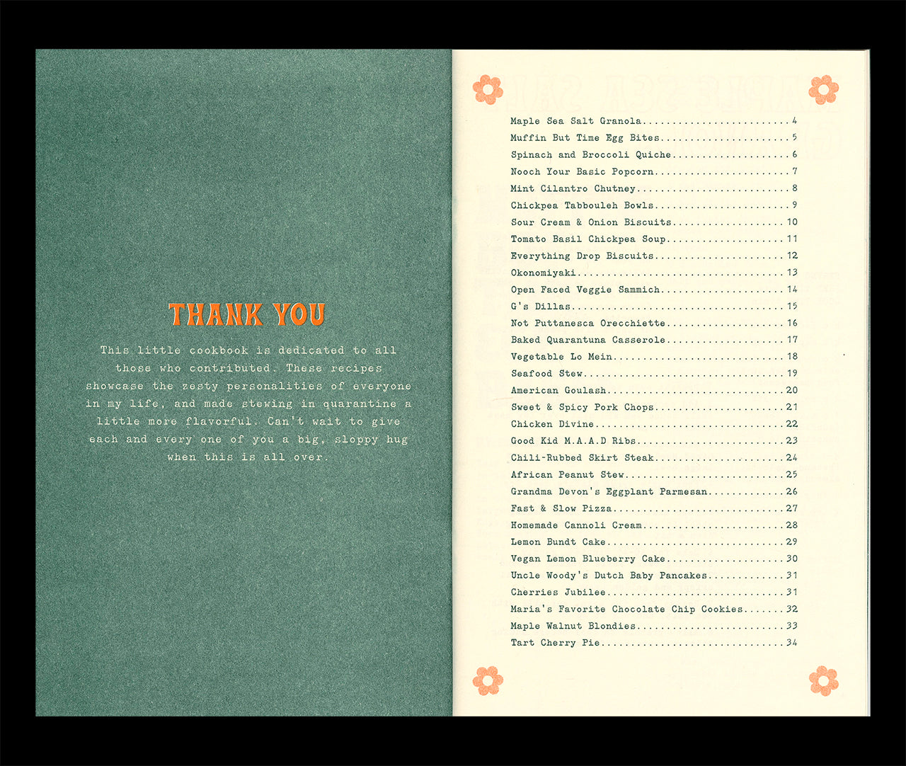 Quarantine Cookbook interior spread showing a thank you page and the table of contents