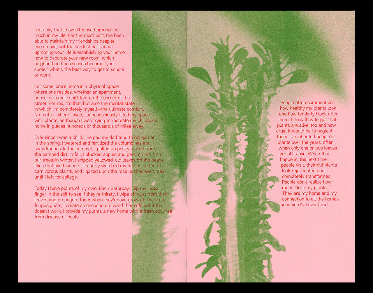 Interior spread of Nicole M. Doan's Portraits of Home showing plants printed in kelly green and text printed in scarlet Riso ink on a pink paper background.