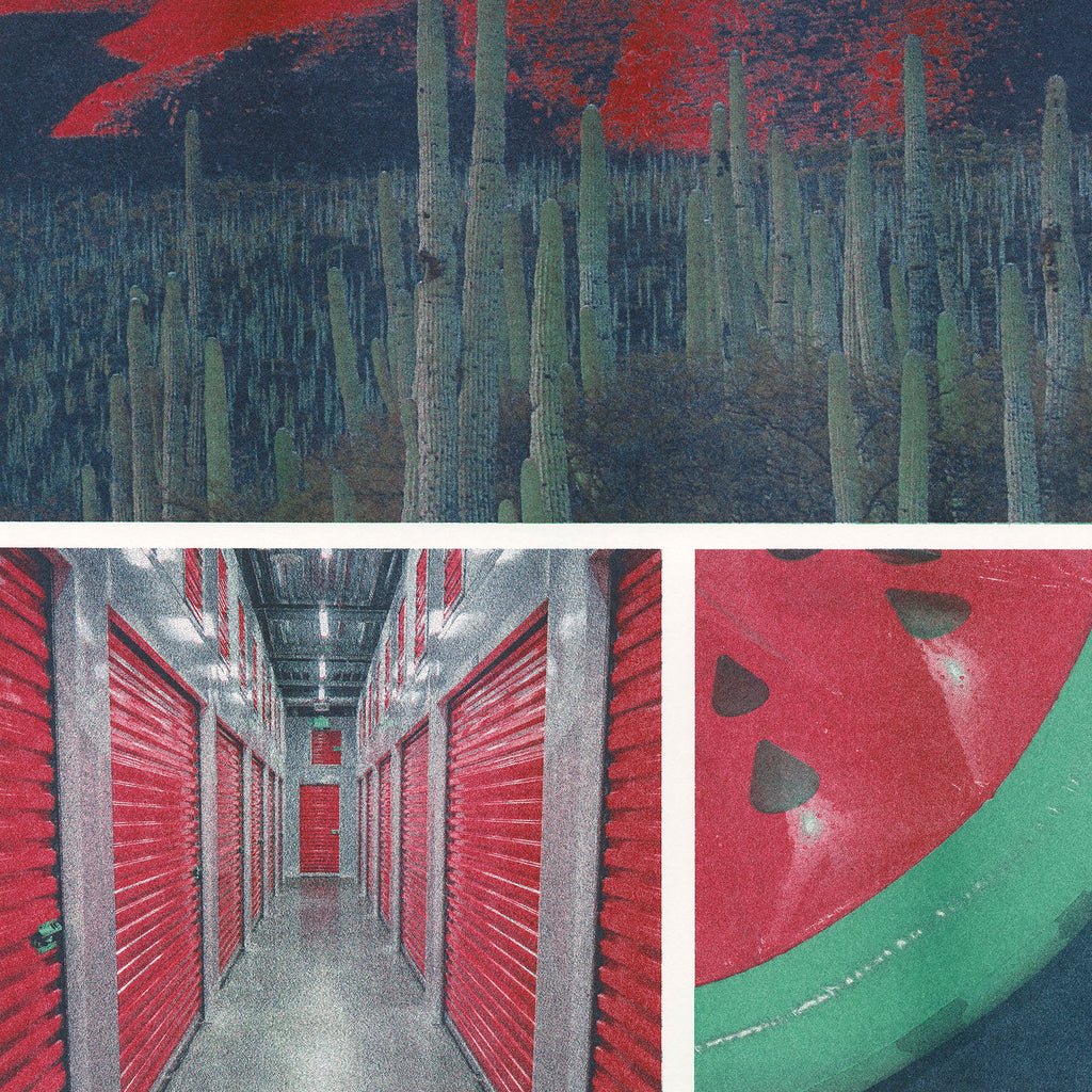 Photographs of a cactus landscape, storage unit, and inflatable watermelon Risograph printed in steel, cranberry, and agave ink
