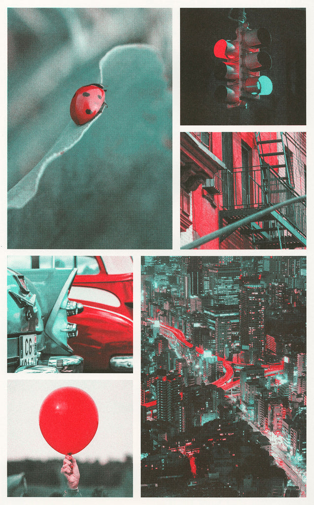Scarlet, red, and mint ink color profile used on different photographs. Photographs of a ladybug, traffic light, side of a building, cityscape at night, classic cars, and balloon.
