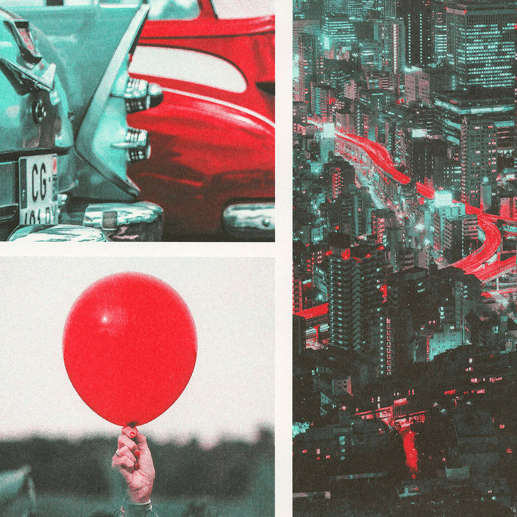 Close up detail of scarlet, red, and mint ink color profile used on different photographs. Photographs of a balloon, cityscape, and classic cars.