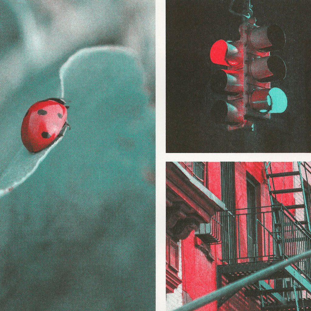 Close up detail of scarlet, red, and mint ink color profile used on different photographs. Photographs of a ladybug, stoplight, and city.. Photographs of a balloon, cityscape, and classic cars.