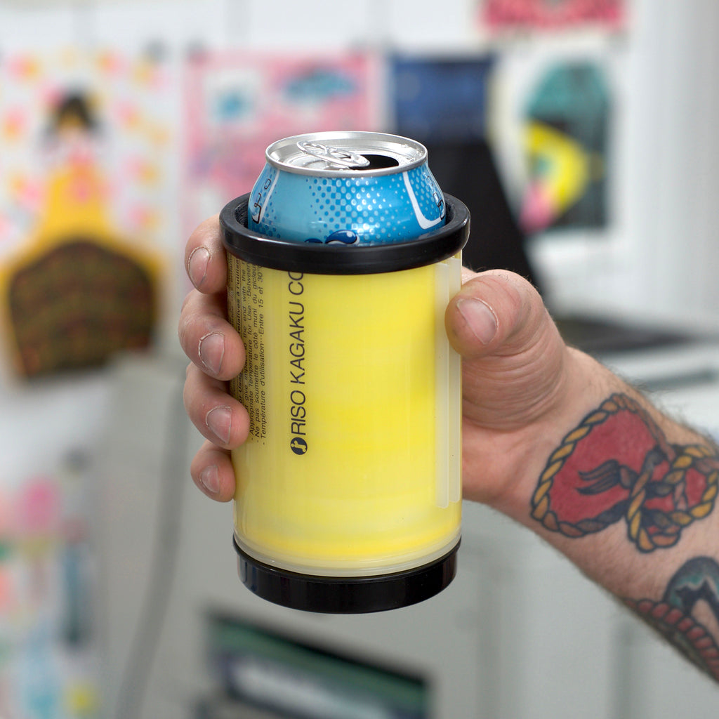 Riso ink tube koozie