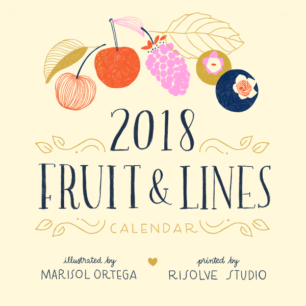 Fruit and lines calendar