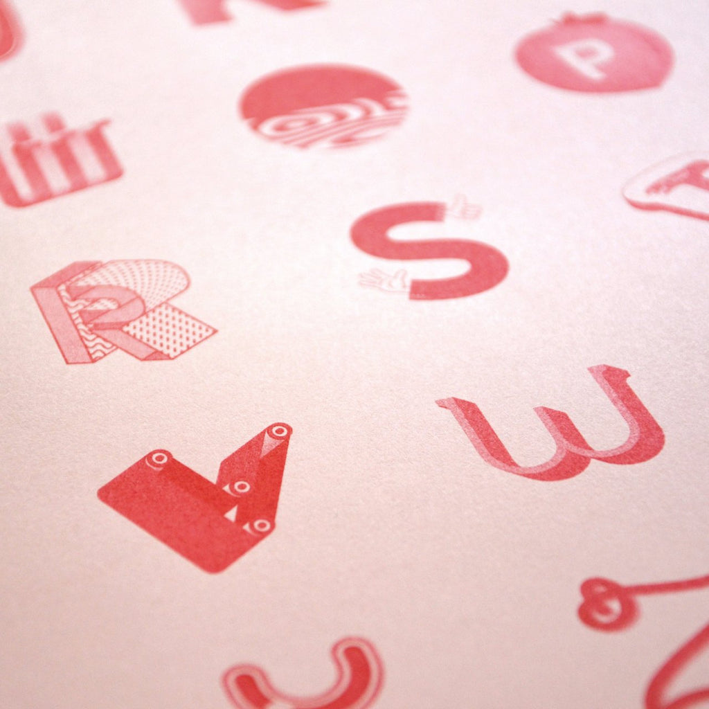 The alphabet risograph poster detail