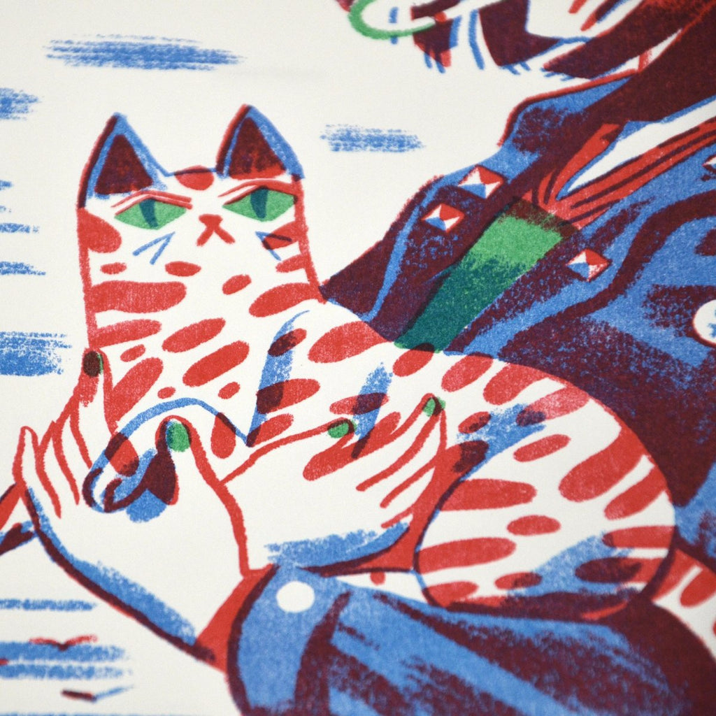 Girl with Cat risograph detail