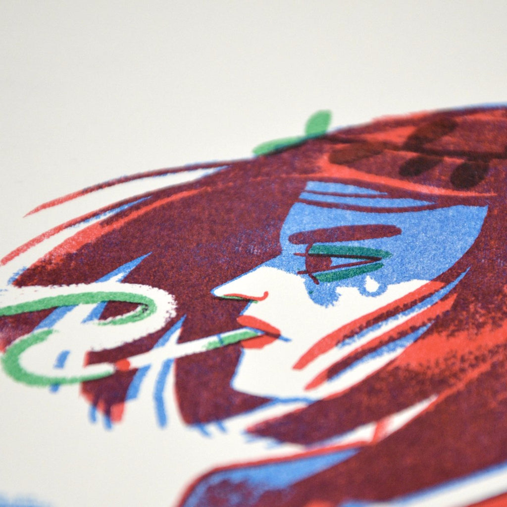 Girl with Cat risograph close up