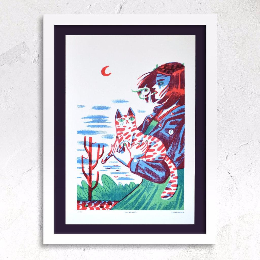 Girl with Cat riso print framed