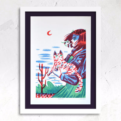 Girl with Cat - Riso print by Kelsey Wroten