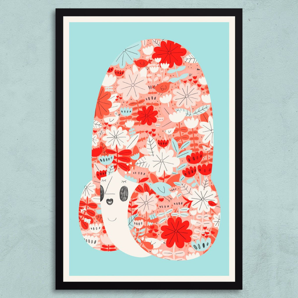Flower lady riso print framed